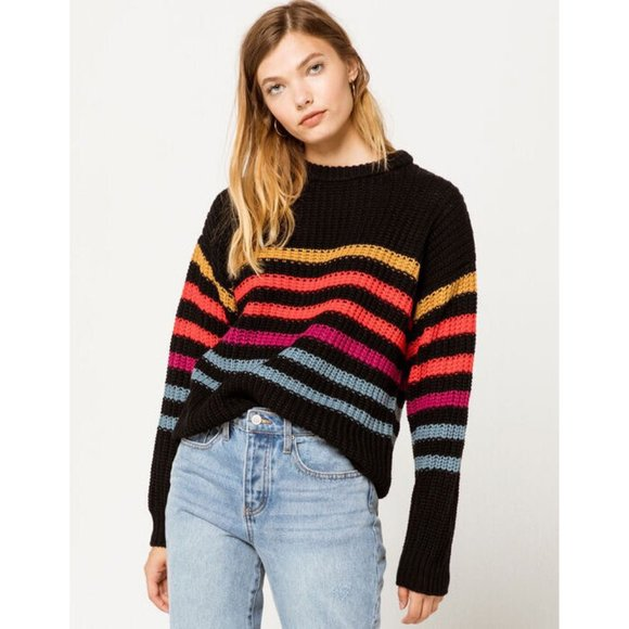 🌈 NWT Volcom Move On Up Striped Sweater (Small)
